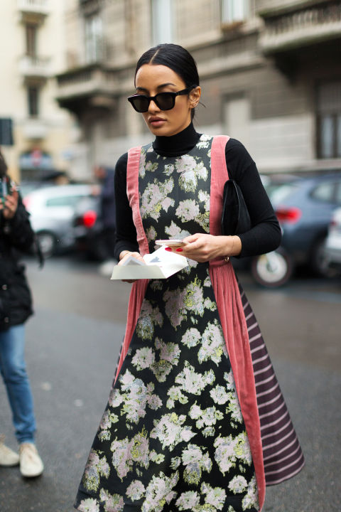 turtleneck under dress-winter to spring transitional dressing-milan fashion week street style-hbz