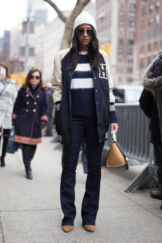 varasity jacket-flares flare jeans-striped sweater-mohair sweeter-textured sweater-navy and white-beanie-nyfw street style-