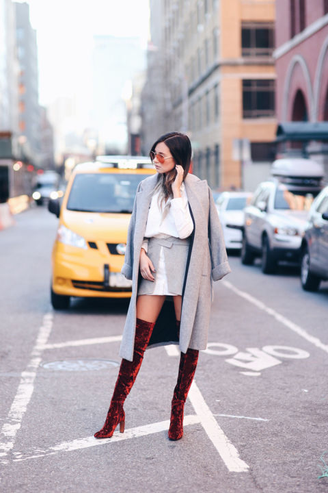 velvet-greige-thigh high boots-grey coat-