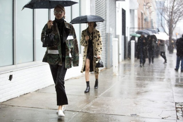 what to wear in the rain-camo-army jacket-cropped flares-leather pants-white slip on sneakers-nyfw street style-rack
