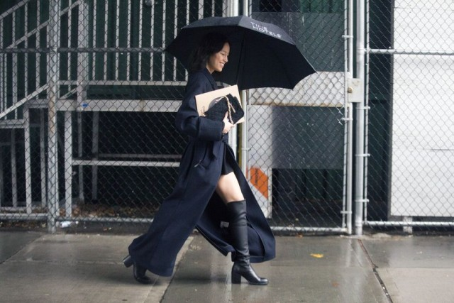 what to wear in the rain-knee boots-trench coat-umbrella-nyfw street style-rack