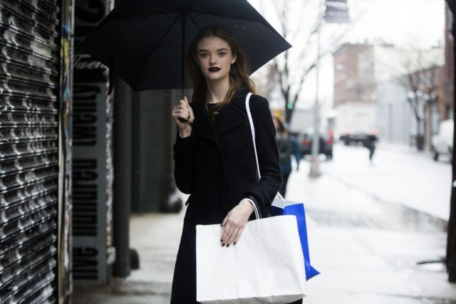 what to wear in the rain-shopping-umbrella-all black-model off duty style-nyfw street style-rack