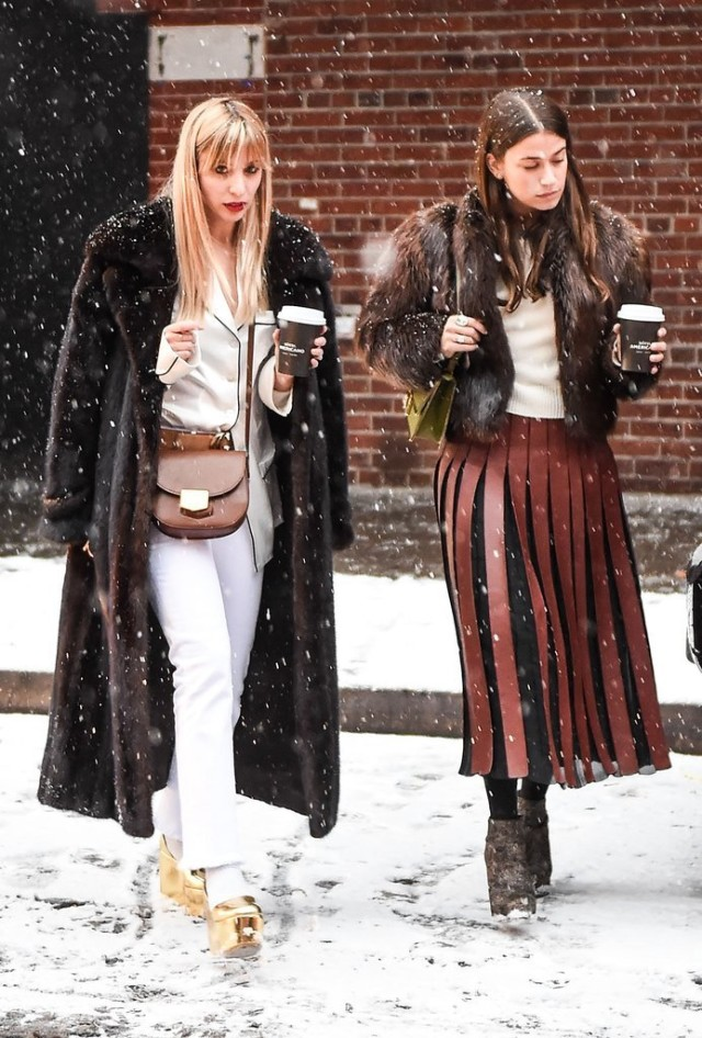what to wear in the snow-fur coat-pajama top socks with sandals-nyfw street style-ps