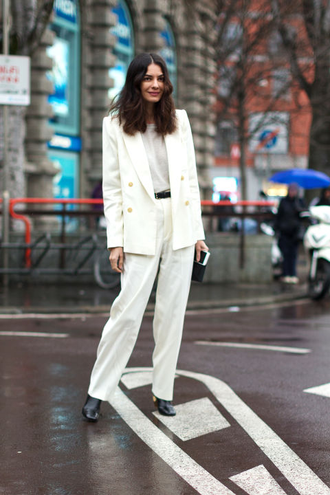 white pantssuit-menswear-double breasted blazer-winter work-winter to spring transitional dressing-milan fashion week street style-hbz