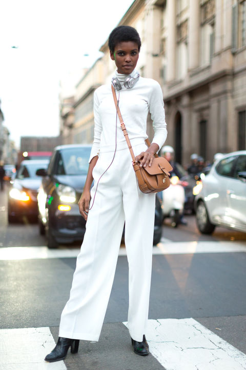 white turtleneck-white wide leg pants-all white winter white-black booties-milan fashion week street style-hbz