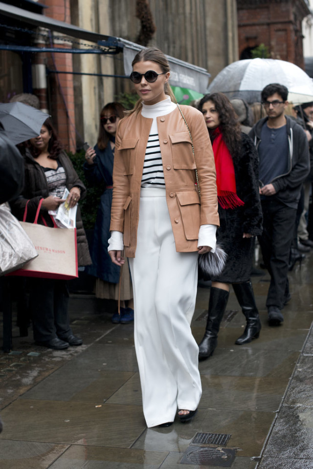 white wide leg pants-camel leather coat-striped shirt-mockneck shirt-turtelenck-fur bag-classic-preppy-winter work-winter to spring transitional dressing-lfw street style-psuk