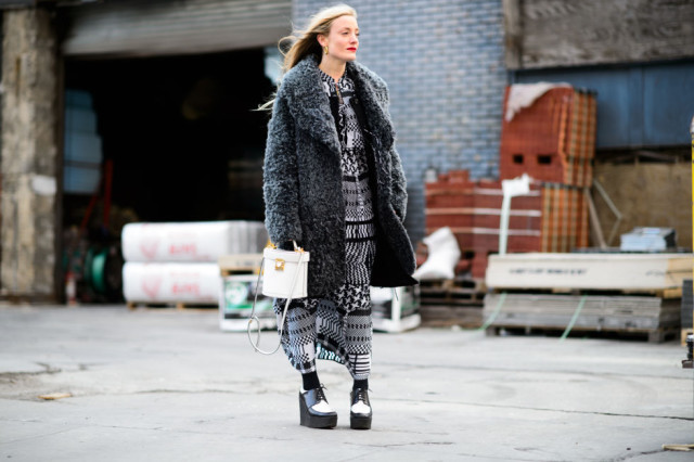 winter maxi dress black and white-tights-platform loafers-platform lace up shoes-furry coat-white purse-nyfw street style-nyfw street style, nyfw fall/winter 2016, new york fashion week, winter to spring dressing, winter outfits, what to wear when it's freezing, layering, layers,