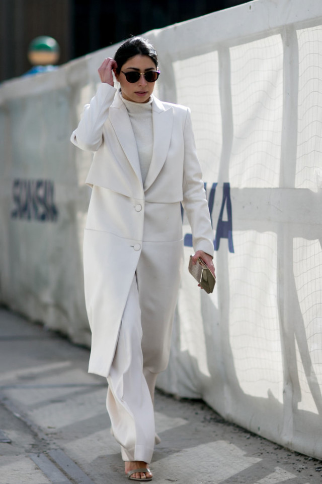 winter white-all white-monochromatic-white turtleneck-white wide leg pants-work outfit-nyfw street style-