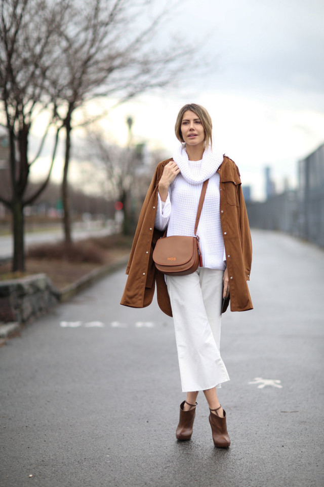 winter whites-all white-white turtleneck sweater-cowl neck-culottes-booties-brown booties-brown and white-initial monogram ssaddle bag-nyfw street style-ps