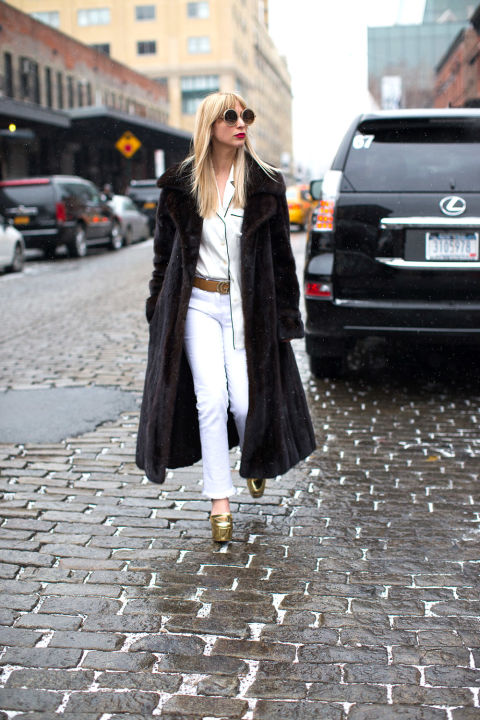 winter whites-white jeans in winter-gold shoes-fur coat-pajama top-pjs during day-kerri bazaar-winter outfits-nyfw street style 2016-hbz