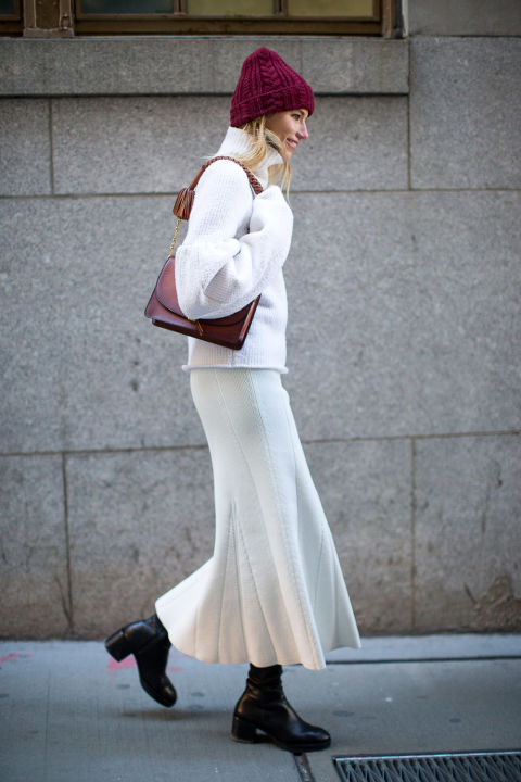 winter whites-white skirt long midi skirt-black booties skirts and boots-turtleneck sweater-beanie-sasha luss-winter outfits-what to wear when its freezing-nyfw 2016 street style-hbz