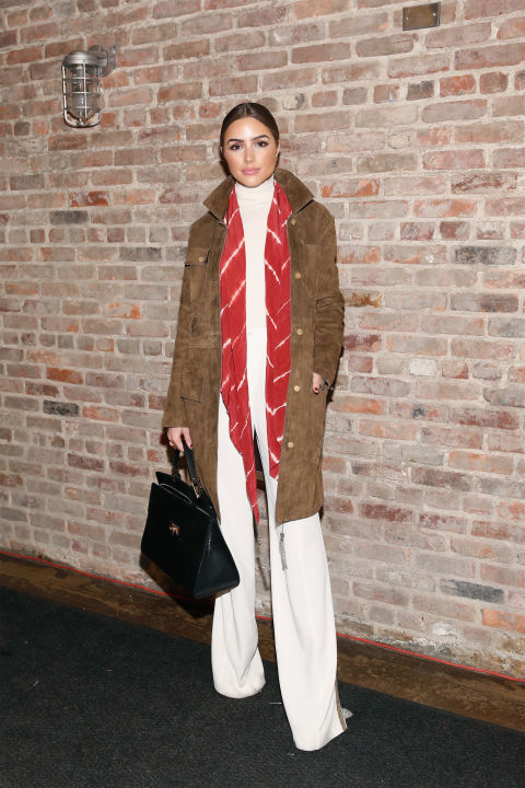 winter whites-white wide-leg pants-suede coat-whtie turtleneck sweater-winter work outfit-scarf-tie dye-nyfw-