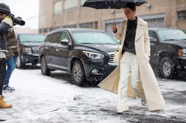 winter whites-winter work outfit-all white-white wide leg pants-white coat-winter outfits-nyfw street style 2016-hbz