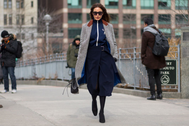 winter work outfit-navy midi skirt-brown booties-zip front sweater-winter outfits-what to wear when its freezing-nyfw 2016 street style-hbz