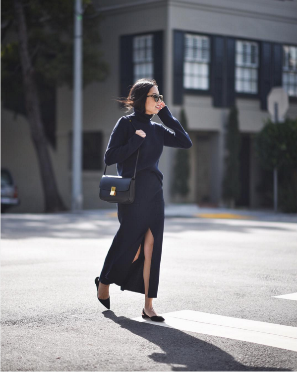 winter work outfit-navy-turtleneck-wrap skirt-long midi skirt-monochormatic-navy is the new black-9to5chic insta