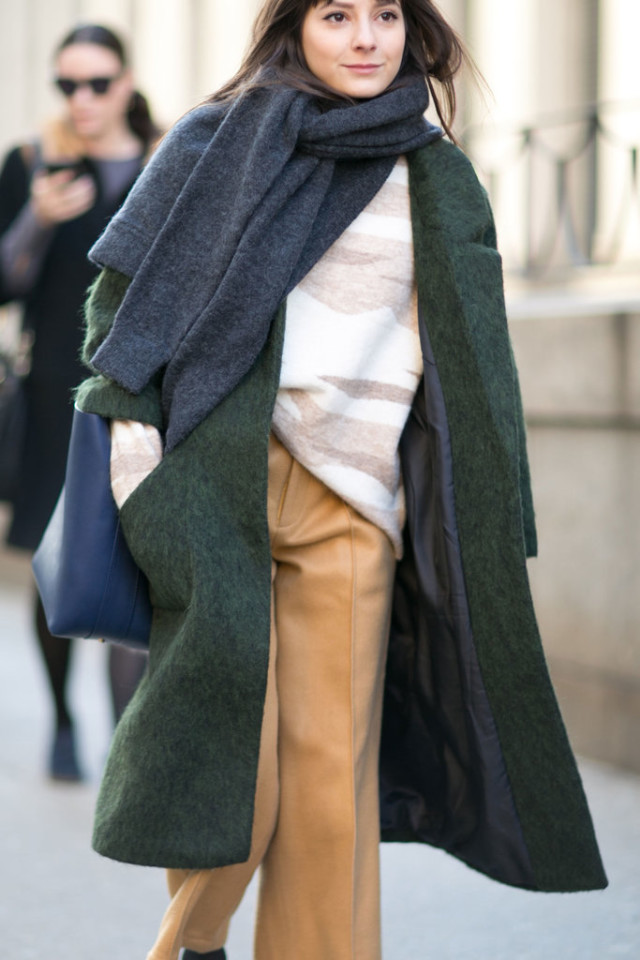 winter work outfit-oversized sweater sweatshirt to work-camel pants meanswear pants-blanket scarf-green jacket-fuzzy jacket textured statement coat-nyfw street style-nyfw street style, nyfw fall/winter 2016, new york fashion week, winter to spring dressing, winter outfits, what to wear when it's freezing, layering, layers,
