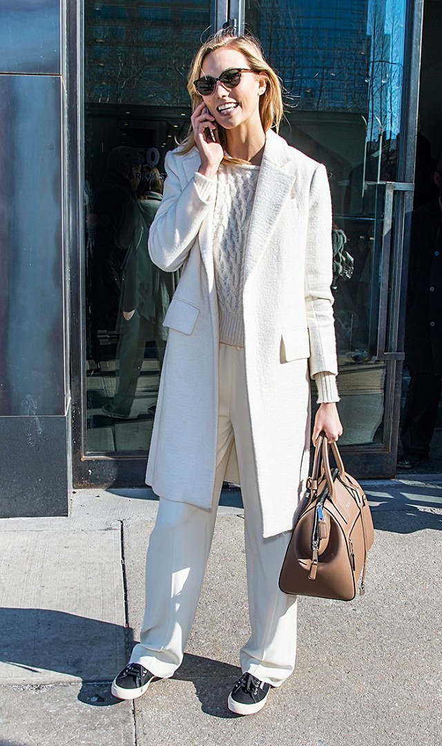 work outfits-all white-wide leg pants-wint er work outfit-all white-winter whites-karlie kloss-www