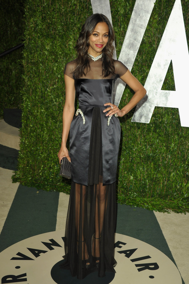 WEST HOLLYWOOD, CA - FEBRUARY 26: Actress Zoe Saldana arrives at the 2012 Vanity Fair Oscar Party hosted by Graydon Carter at Sunset Tower on February 26, 2012 in West Hollywood, California. (Photo by John Shearer/WireImage)