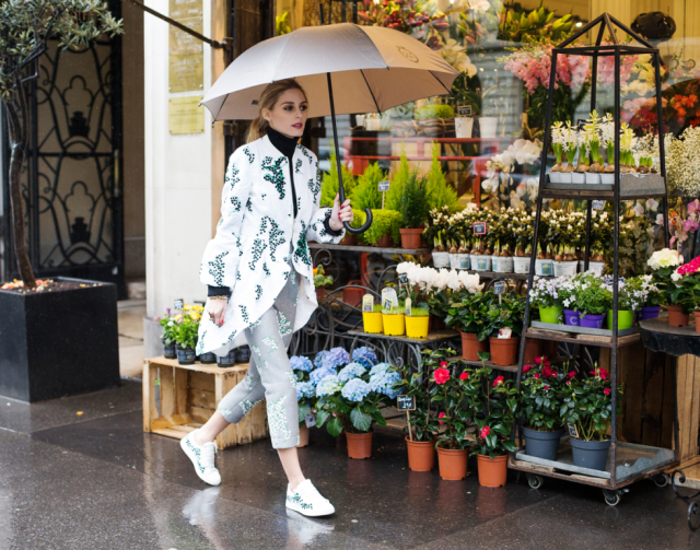 olivia palermo paris fashion week, floral jacket, floral pants, spring outfit, rain outfit, brunch, shower