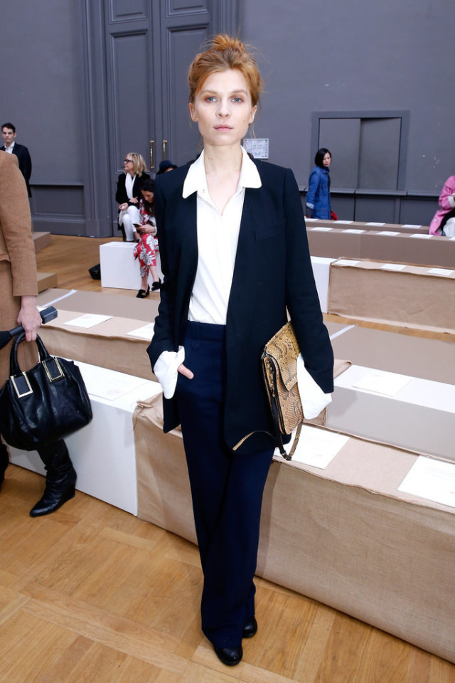 Clémence-Poésy-oversized cuffs-pants suit-navy-navy and white-menswear-work-office to out-pfw street style-getty