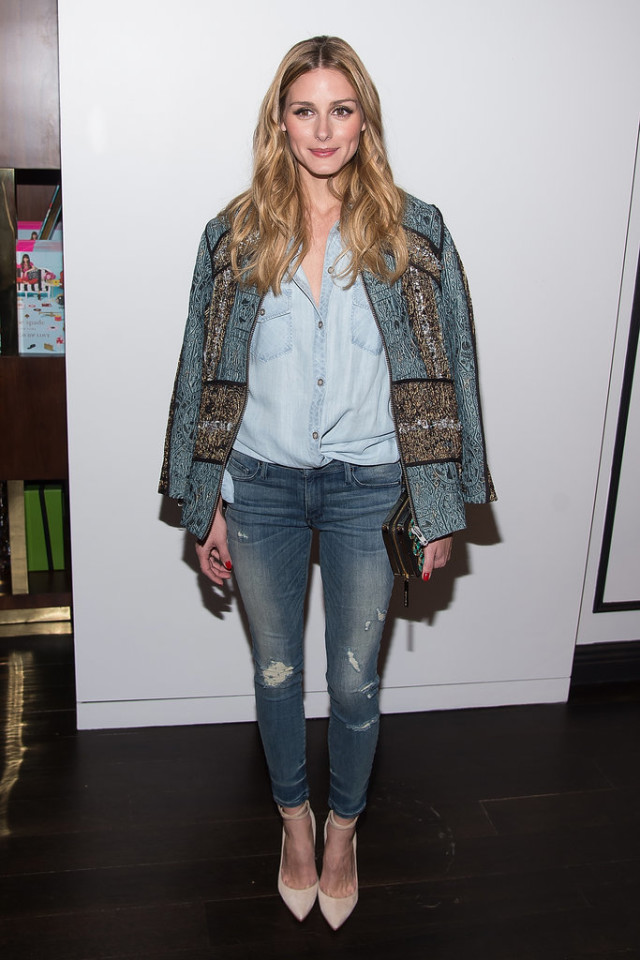 olivia palermo, jeans, embroidered jacket, denim on denim, chambray shirt, date night outfit