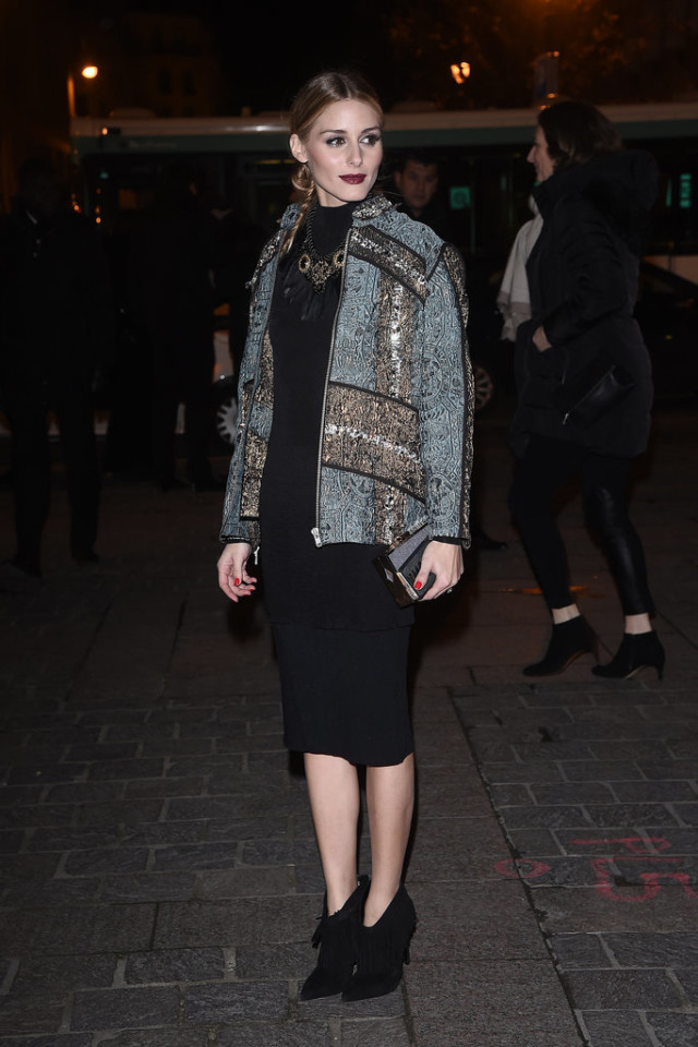 Olivia-Palermo-night out-going out-party-embellished jacket-embroidered jacket-lbd-midi dress-statement necklace-statement jacket-fringe booties-office to out-pfw street style-getty