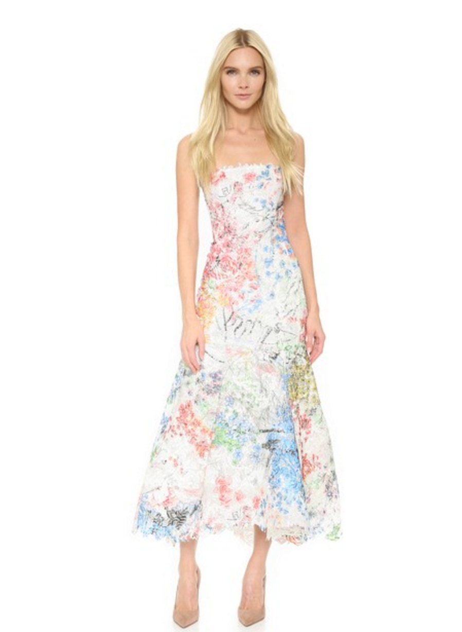 4dd5ca05aac Monique Lhuillier Strapless Trumpet Midi Dress with Artsy Floral Print