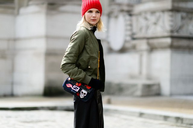 baseball jacket-army green bomber jacket-red benie-turtleneck-fendi bag-pfw street style-