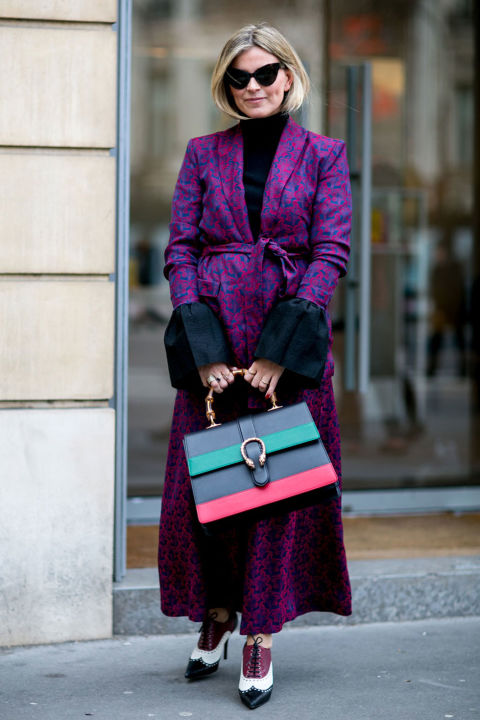 bell sleeves-major sleeves-turtleneck-cat eye sunglasses-lace up oxfords booties-structured top handle tote bag-colorblock bag-printed coat -statement coat-spring coat-pfw street style-