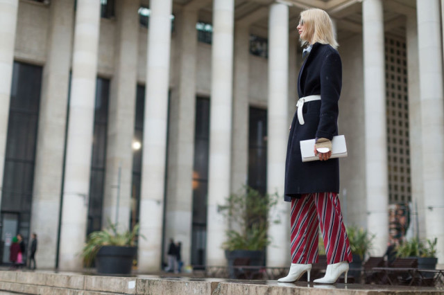 belted coat-printed pants-white booties-pfw street style-hbz