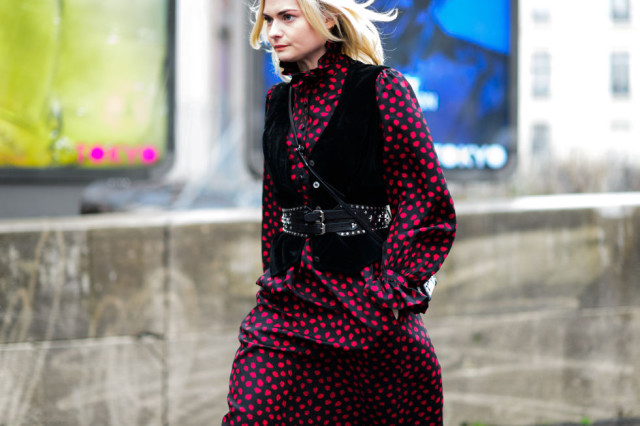 belted vest-western belt-printed dress-winter to spring transtional dressing-black and red- pfw street style-elle