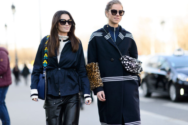 black and navy-colorblock jacket-black leather culottes-pfw street style-elle