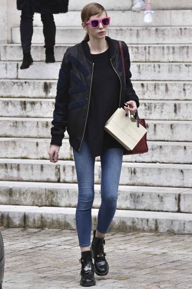 black and navy-weekend-baseball jacket-pfw street style-getty