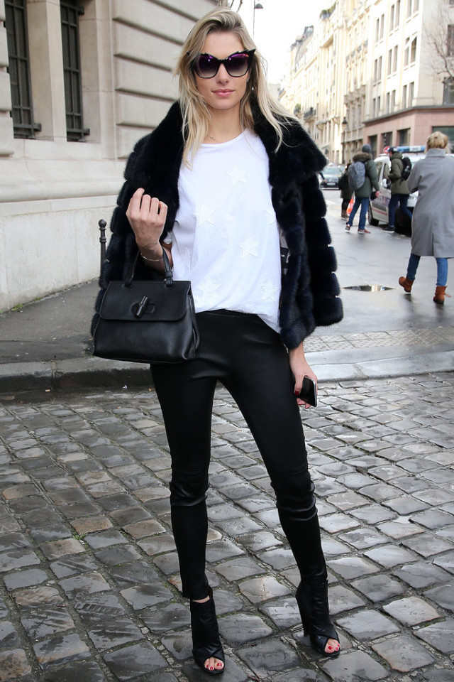 black and white-black leather skinnies-peep toe mules-jessica hart-model style-pfw street style-getty