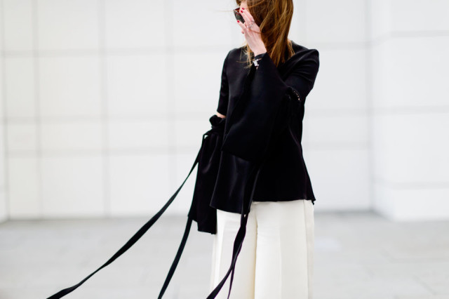 black and white-string tie jacket-white pants-pfw street style-elle