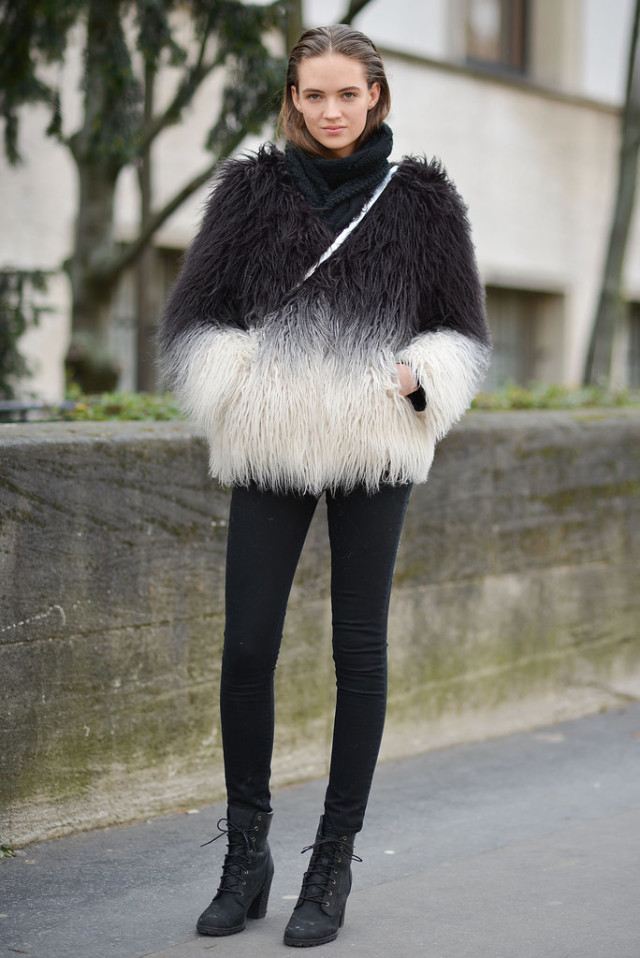 black lace up boots-black skinnies-fur jacket-pfw street style-ps