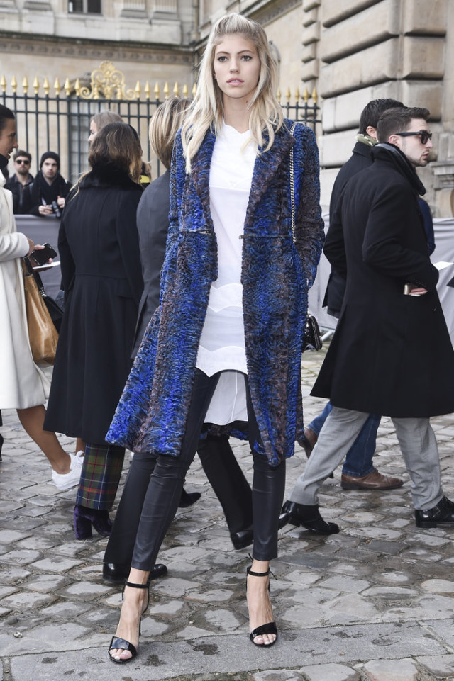 black leather skinnies-simple black sandals-statement coat-furry coat-texture-white tunic shirt-pfw street style-devon windsor-