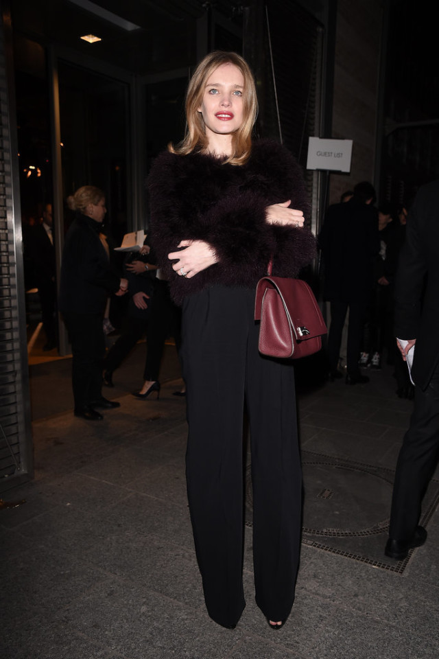 black wide leg pants-furry jacket-all black-going out-office to out-night out-pfw street style-getty