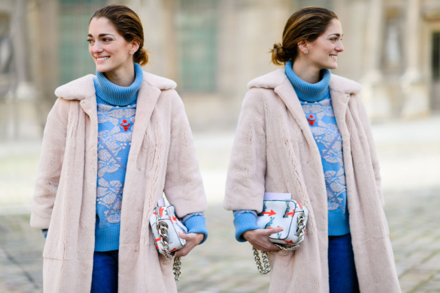 blush fur coat-colored fur-turtleneck sweater-pfw street style-elle-chufy