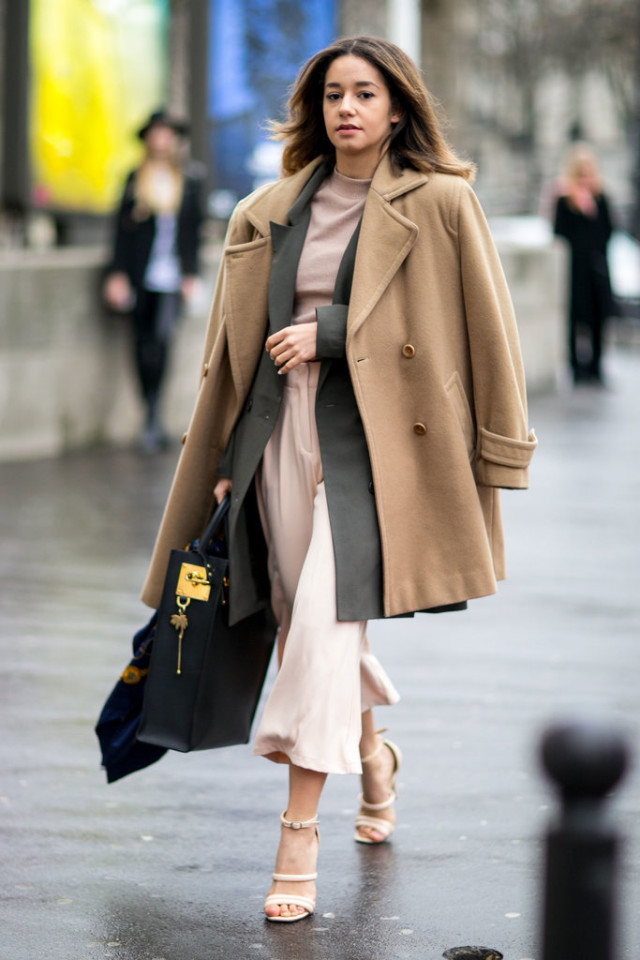 blush pink-culottes-mocnkeneck-camel coat-double coats-pfw street style-ps-spring work-winter to spring transitional dressing