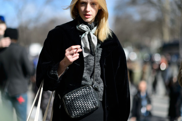 bow blouse-grey-scarf-black coat-pfw street style-
