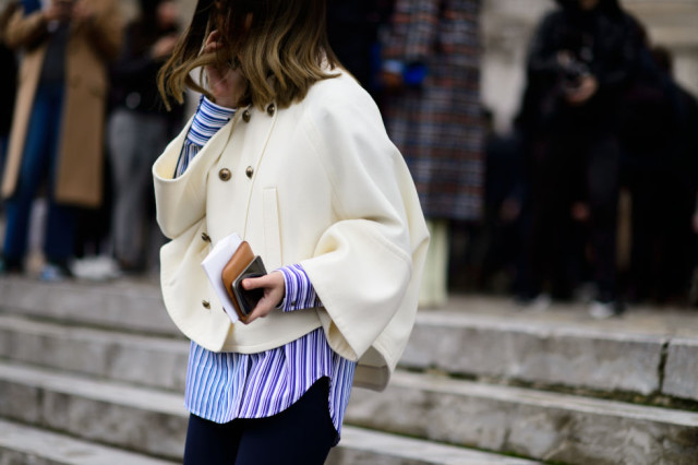 cape coat-striped mens oxford shirt-pfw street style-elle