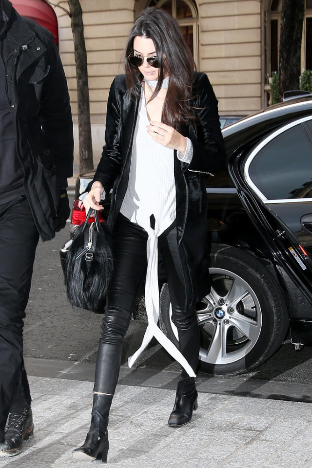 choker shirts-black and white-black leather skinnies-pfw street style-getty-kendall jenner