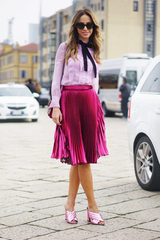 criss cross mules-metallic skirt-pink blush pink-tie neck blouse-pleated skirt-knee skirt-pink-spring party shower-www