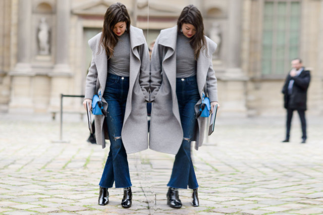 cropped flares-turtleneck-grey-grey coat-booties-leah chernikoff-pfw street style-elle
