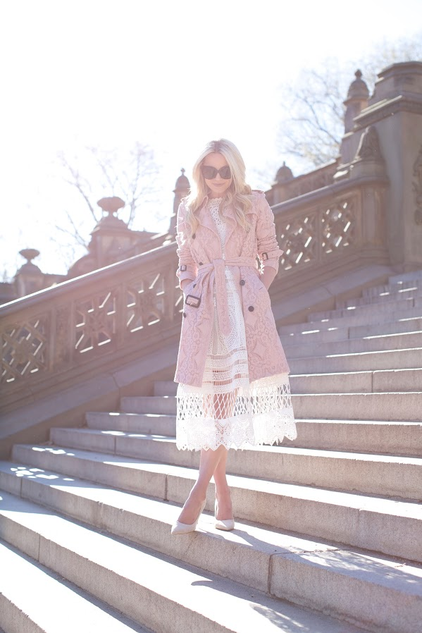 easter-white crochet dress-sheer dress-blush and white-blush trench coat-pastels-party-going out-easter-