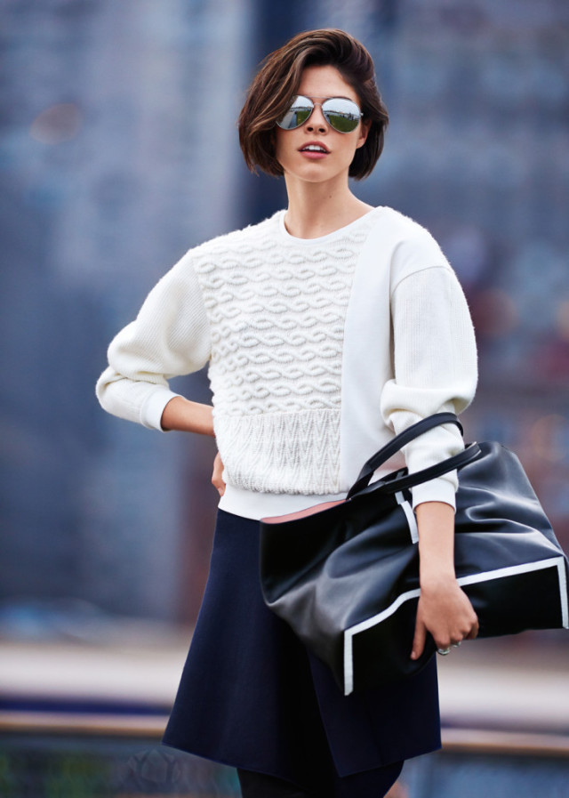 emily weiss-black mini skirt-white sweater-