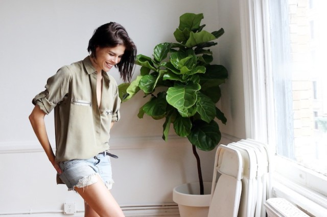 emily weiss-cutoffs-army green shirt-