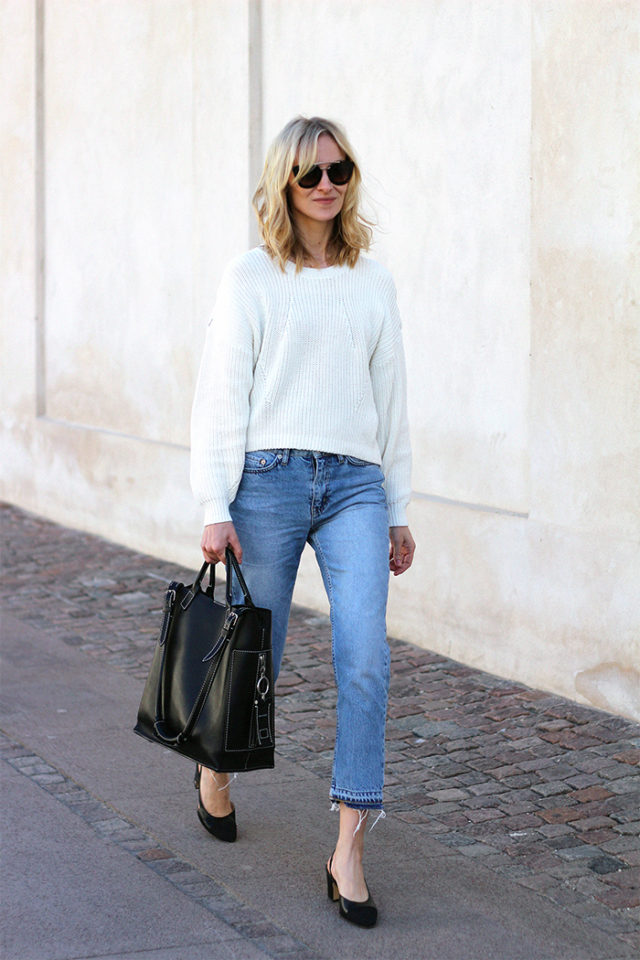 frayed denim-cropped jeans-block heels-white sweater-weekend outfit-