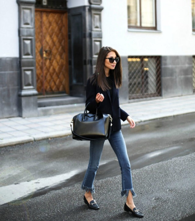 frayed denim-gucci loafers-spring work outfit-black blazer-weekend outfit-